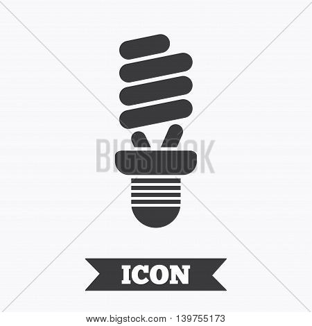 Fluorescent lamp bulb sign icon. Energy saving. Idea and success symbol. Graphic design element. Flat lamp symbol on white background. Vector