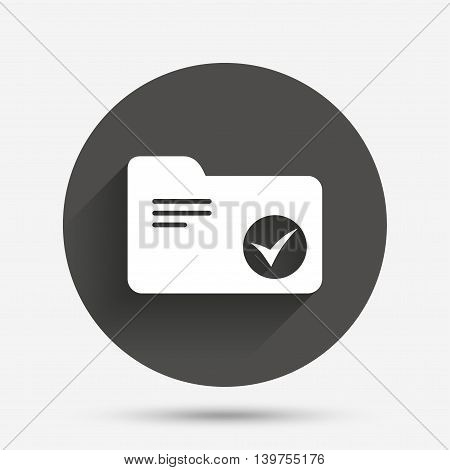 Select document folder sign. Accounting binder symbol. Bookkeeping management. Circle flat button with shadow. Vector