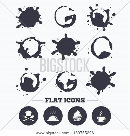 Paint, coffee or milk splash blots. Food and drink icons. Muffin cupcake symbol. Fork and spoon with Chef hat sign. Hot coffee cup. Food platter serving. Smudges splashes drops. Vector