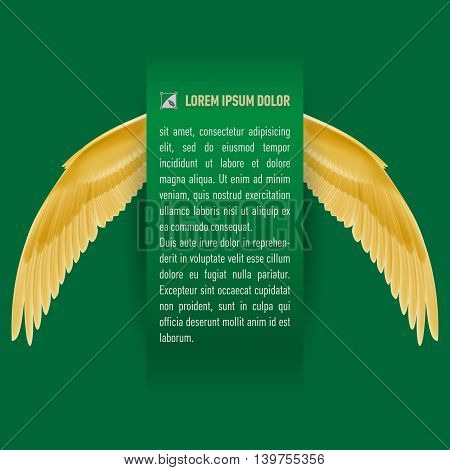 Sheet of green paper with text with wings on both sides