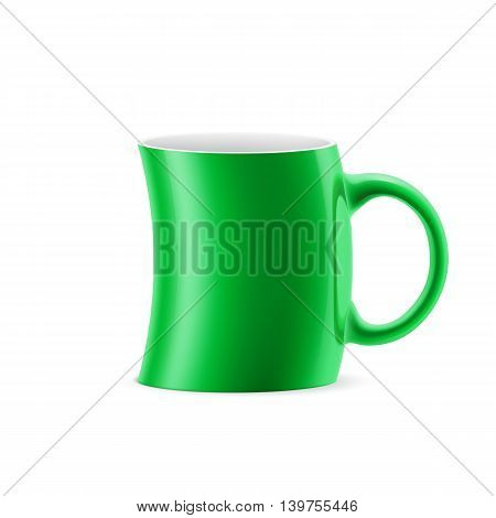 Green curve cup of something stay on white background