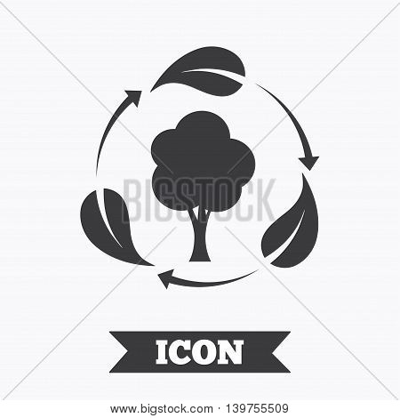 Fresh air sign icon. Forest tree with leaves symbol. Graphic design element. Flat fresh air symbol on white background. Vector
