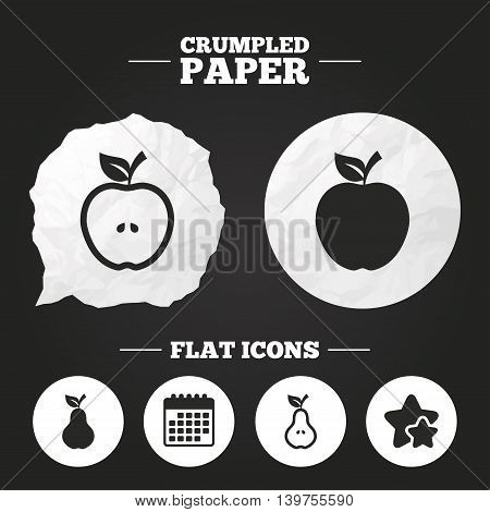 Crumpled paper speech bubble. Fruits with leaf icons. Apple and Pear with seeds signs. Natural food symbol. Paper button. Vector