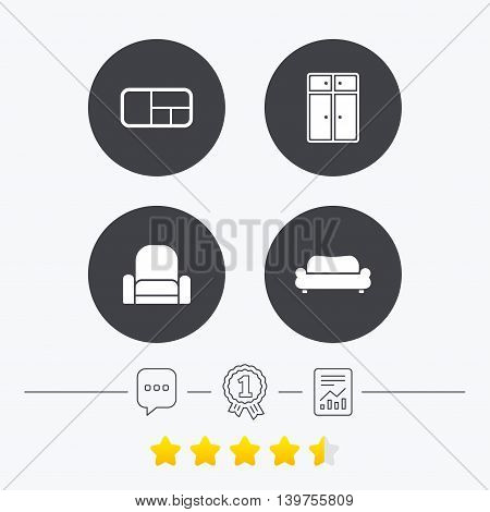 Furniture icons. Sofa, cupboard, and book shelf signs. Modern armchair symbol. Chat, award medal and report linear icons. Star vote ranking. Vector