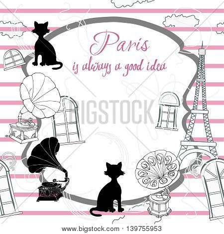 Romantic background with  Paris and gramophones. Hand drawn sketches old record players. Vector music illustration