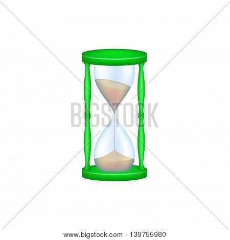 Sand glass in green design and blue glass on white background