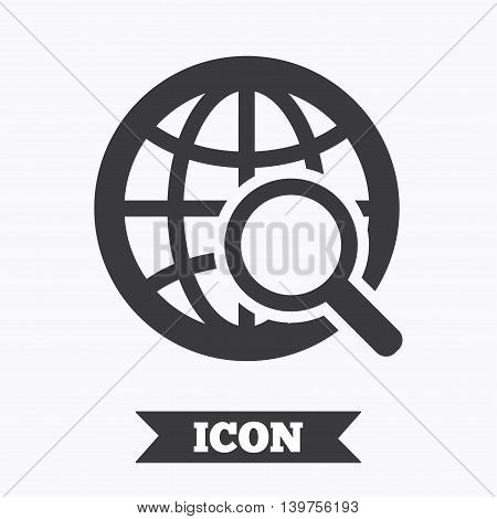 Global search sign icon. World globe symbol. Graphic design element. Flat internet search symbol on white background. Vector