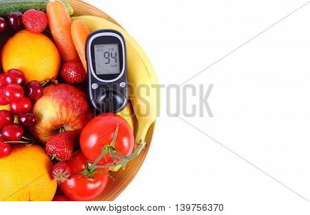Glucometer with fresh ripe fruits and vegetables copy space for text concept of diabetes healthy food nutrition and strengthening immunity