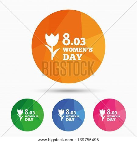 8 March Women's Day sign icon. Flower symbol. Triangular low poly button with flat icon. Vector