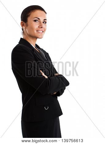 Portrait of a beautiful businesswoman isolated on white