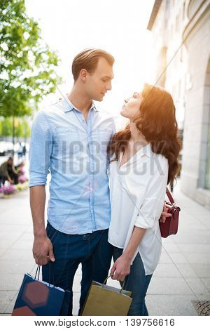 Loving couple in a city center