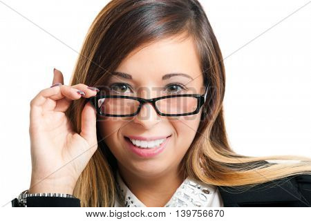 Young woman holding her eyeglasses