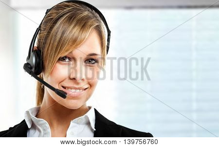 Female call center operator at work