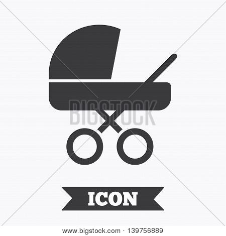 Baby pram stroller sign icon. Baby buggy. Baby carriage symbol. Graphic design element. Flat carriage symbol on white background. Vector