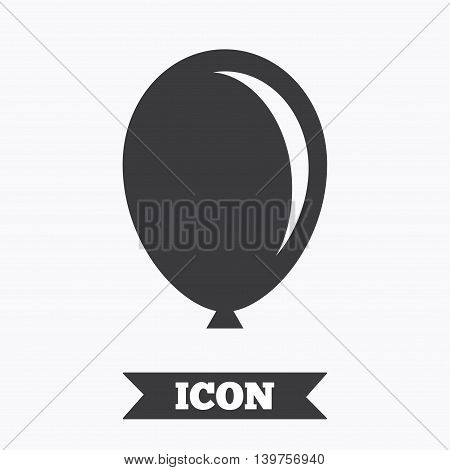 Balloon sign icon. Birthday air balloon symbol. Graphic design element. Flat balloon symbol on white background. Vector