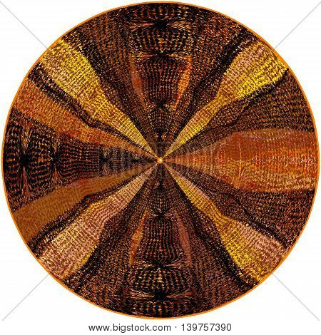 Colorful weave round carpet with grunge striped centrifugal ornamental pattern isolated on white