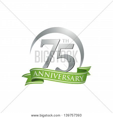 75th anniversary green logo template. Creative design. Business success