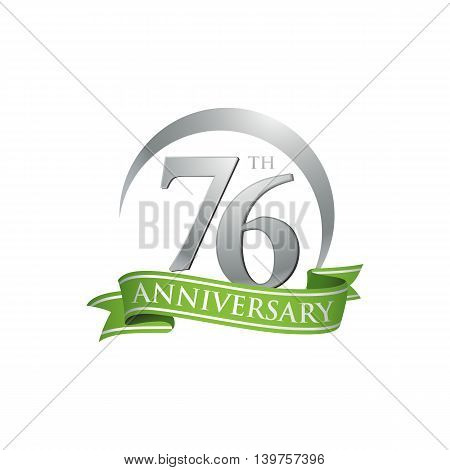 76th anniversary green logo template. Creative design. Business success