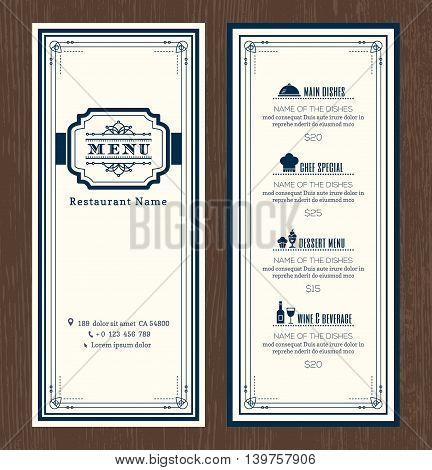 Restaurant or cafe menu vector design template with vintage retro art deco frame style