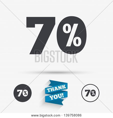 70 percent discount sign icon. Sale symbol. Special offer label. Flat icons. Buttons with icons. Thank you ribbon. Vector