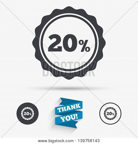 20 percent discount sign icon. Sale symbol. Special offer label. Flat icons. Buttons with icons. Thank you ribbon. Vector