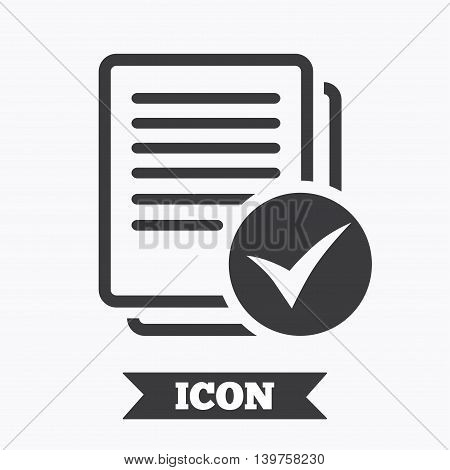 Text file sign icon. Check File document symbol. Graphic design element. Flat file symbol on white background. Vector
