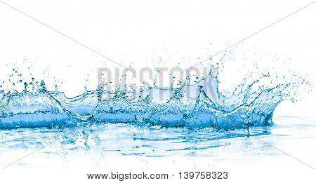 splashing blue water on white background