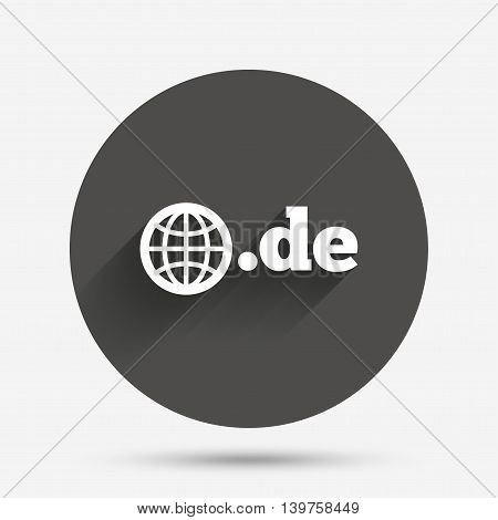 Domain DE sign icon. Top-level internet domain symbol with globe. Circle flat button with shadow. Vector