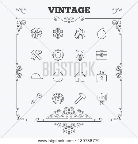 Engineering icons. Ventilation, heat and air conditioning symbols. Water supply, repair service and circuit board thin outline signs. Lamp, house and locker. Vintage ornament patterns. Decoration design elements. Vector