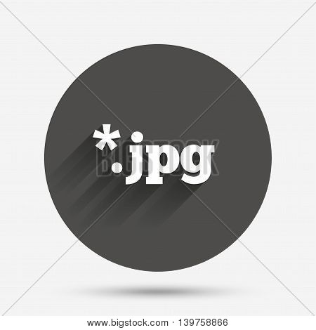 File JPG sign icon. Download image file symbol. Circle flat button with shadow. Vector