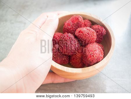 Healthy strawberry crispy on clean background stock photo