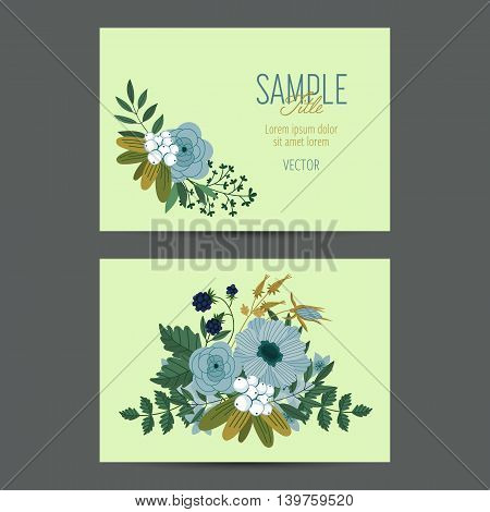 Flowers invitation design template to celebration on business card with flower decoration vector illustration. Vintage flowers in modern style. Flowers card for romantic and wedding design. Greeting cards. Flowers background. Business card with flowers.