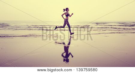 Run Sea Sand Sport Sprint Relax Exercise Beach Concept