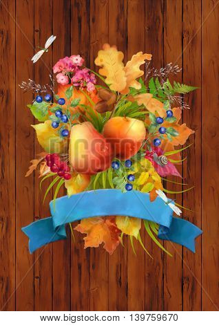 Watercolor autumn composition with apple, pear, flowers, oak and maple fall leaves, dragonflies, snail and ribbon banner on wooden background