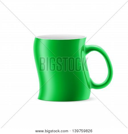 Green curve a cup of something stay on white background
