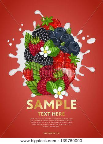Berries mix composition in milk splash vector illustration