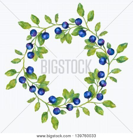 Watercolor blueberries wreath on a white background. Hand drawn illustration