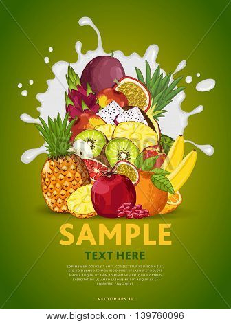 Fruit mix composition in milk splash vector illustration