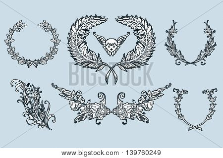 Floral wreath branches set. Decorative elements at engraving style. Vector Illustration.