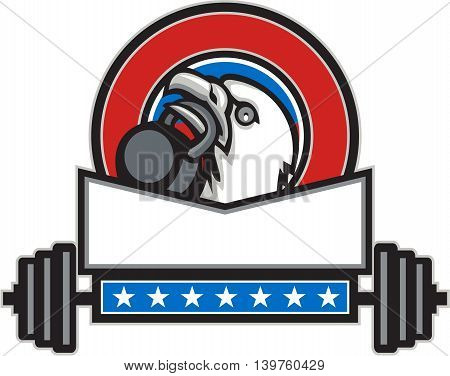 Illustration of an american bald eagle head looking up to the side lifting kettleball with beak set inside circle with barbell and stars done in retro style.