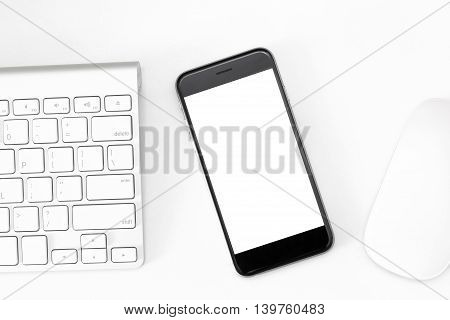 phone blank screen on white work table
