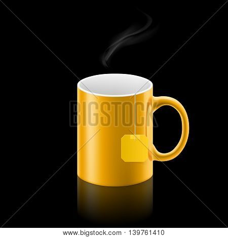Orange cup of something with teabag stay