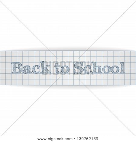 Back to School realistic paper Banner. Vector Illustration.