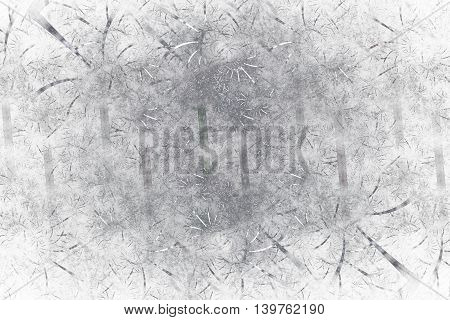 Silver shapes. Abstract monochrome grunge background. Fantasy vintage fractal texture in white and grey colors. 3D rendering.