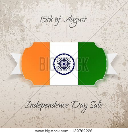 India Independence Day paper Tag. Vector illustration