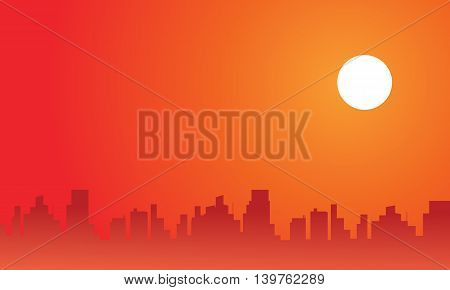At afternoon city scenery silhouettes vector illustration