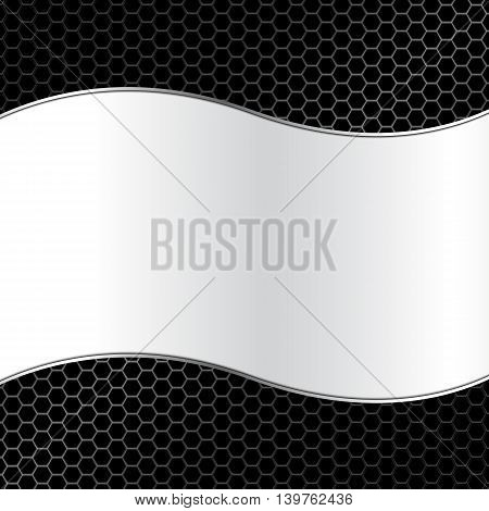 Abstract Metal Texture Background With Curve Frame Vector Illustration