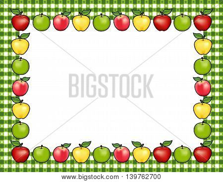 Apple Frame place mat, red and golden Delicious, green Granny Smith and Pink apple fruits, white center with copy space, gingham check border in green tablecloth pattern.
