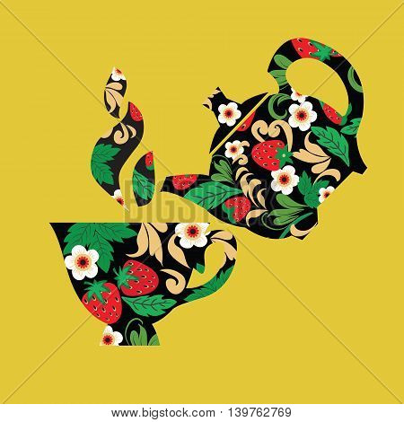 Decorative design Hand drawn Vector illustration set of Teapot and cup berries and flowers in Traditional folk ornament.