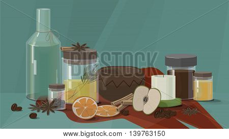 Spa set for body care and hair with apple , coffee and orange